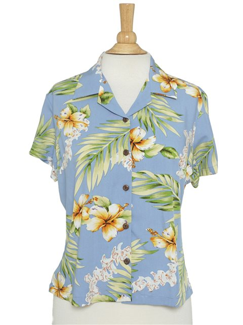 df328c0178ae3 Two Palms Tuberose Blue Rayon Women's Hawaiian Shirt | AlohaOutlet