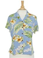 Two Palms Tuberose Blue Rayon Women's Hawaiian Shirt