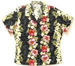 Two Palms Plumeria Panel Black Cotton Women's Hawaiian Shirt