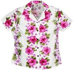 Two Palms Plumeria Panel White Cotton Women's Hawaiian Shirt