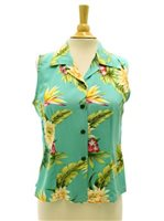 Two Palms Ceres Green Rayon Women's Sleeveless Blouse
