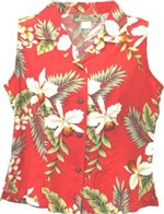 Two Palms Hawaiian Orchid Red Rayon Women's Sleeveless Blouse