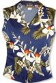 Two Palms Hawaiian Orchid Navy Rayon Women's Sleeveless Blouse