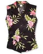 Two Palms Orchid Fern Black Rayon Women's Sleeveless Blouse
