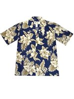 KY'S Wonder Hibiscus  Navy Blue Cotton Men's Hawaiian Shirt