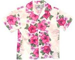 Two Palms Plumeria Panel White Cotton Boys Hawaiian Shirt