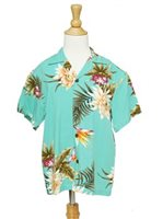 Two Palms Ceres Green Rayon Boys Hawaiian Shirt