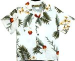 Two Palms Hawaiian Orchid White Rayon Boys Hawaiian Shirt