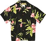 Two Palms Orchid Fern Black Rayon Boys Hawaiian Shirt