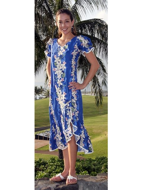 Vintage Plumeria Blue Cotton Hawaiian Long Muumuu Dress