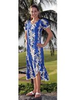 Two Palms Vintage Plumeria Blue Cotton Hawaiian Long Muumuu Dress
