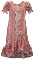 Two Palms Vintage Plumeria Pink Cotton/Rayon Hawaiian Long Muumuu Dress