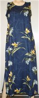 Paradise Found 180 Bamboo Paradise Navy Rayon Hawaiian Tank Long Dress