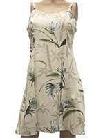 Paradise Found Bamboo Paradise Cream Rayon Hawaiian Slip Short Dress