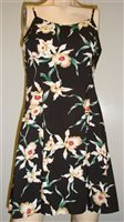 Paradise Found Star Orchid Black Rayon Hawaiian Slip Short Dress