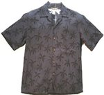 Two Palms Palm Tree Black Rayon Men's Hawaiian Shirt