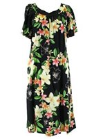 Two Palms Nadina Black Rayon Hawaiian Midi Muumuu Dress