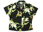 Two Palms Orchid Black Cotton Women's Hawaiian Shirt