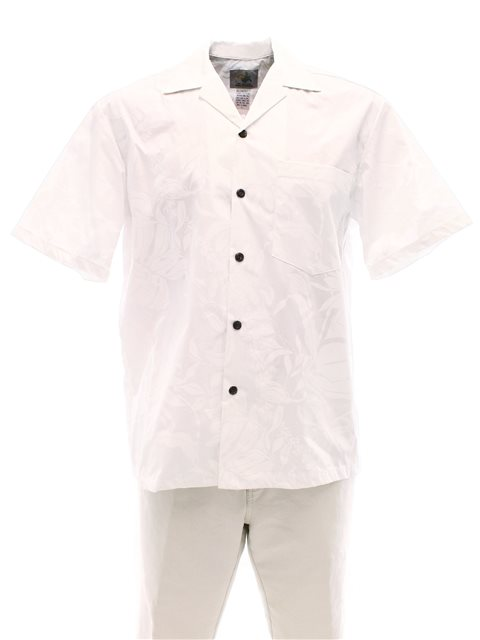 Makapuu White Cotton Men's Hawaiian Shirt