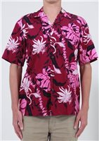 Two Palms Makapuu Plum Cotton Men's Hawaiian Shirt