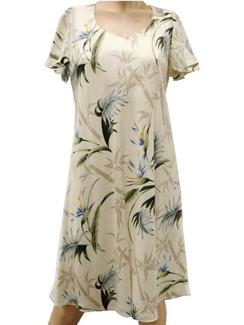 67ee1ec8b77be Bamboo Paradise Cream Rayon Hawaiian A-Line with sleeves Short Dress