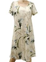 Paradise Found Bamboo Paradise Cream Rayon Hawaiian A-Line with sleeves Short Dress